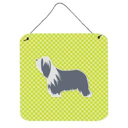 UPC 652513466714 product image for Bearded Collie Checkerboard Green Wall or Door Hanging Prints | upcitemdb.com
