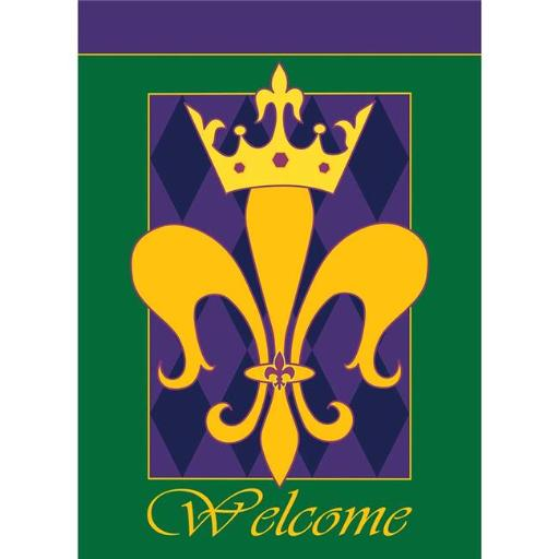 Dicksons 01225 Welcome Fleur-De-Lis Golden Crown Garden Flag, Green & Purple - Small