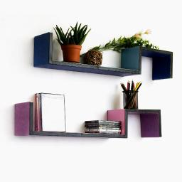 Wisteria & Sky S-Shaped Leather Wall Shelf / Floating Shelf (Set of 2)