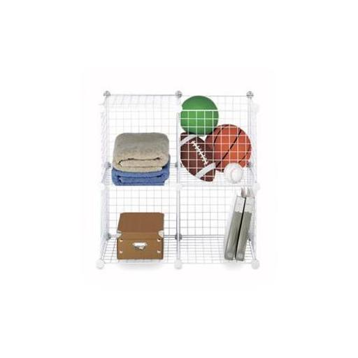 WHITMOR 6071-1723 Wire Storage Cubes Set 4 White