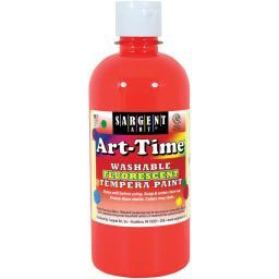 Washable Art-Time(R) Fluorescent Tempera Paint 10oz Red