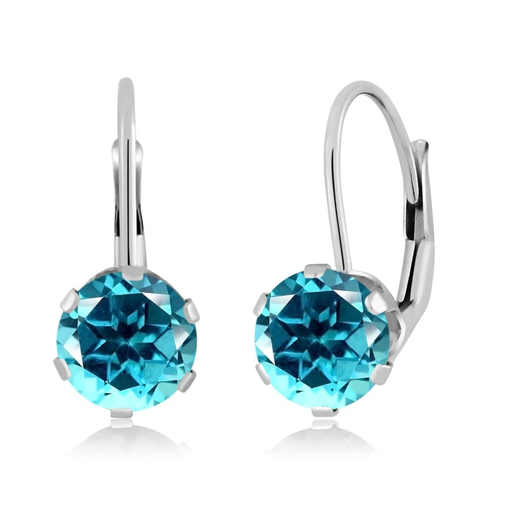 14K White Gold Dangle Earrings Set with Round Paraiba Topaz from Swarovski