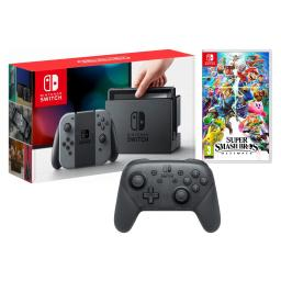 Nintendo Switch Console with Gray Joycon Controllers, Super Smash Bros Ultimate Import Region Free and Pro Controller