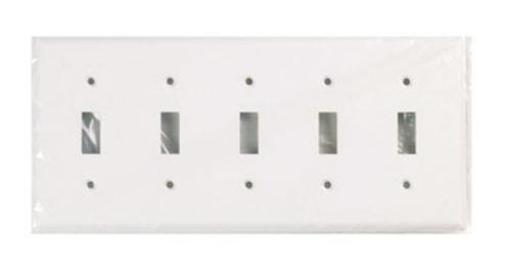 Cooper Wiring 2155w-box 5-toggle Standard-size Thermoset Wallplate, White