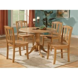 East West Furniture DLIN3-OAK-W Dublin 3PC Set - Round Table with two 9 in. Drop Leaves and 2 Vertical slat back wood seat chairs