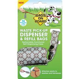 Bags On Board 3203940029 Blue Bags On Board Fashion Dispenser And Poop Bag Refills Chevron Print 14 Bags Blue