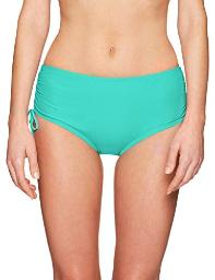 24th & Ocean Women's High Waist Side Tie Hipster, Sea Green//Solid, Size Medium
