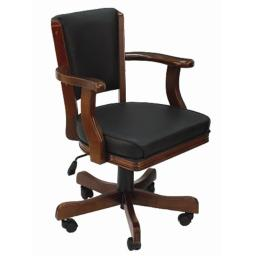 RAM Gameroom Products GCHR2-ET Swivel Cushioned Game Table Arm Chair with Casters - English Tudor