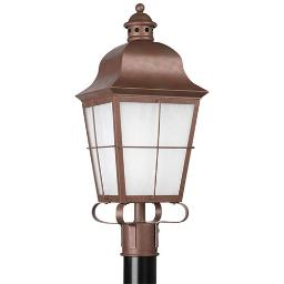 Sea Gull Lighting 82973BL-44 1 L Outdoor Post Lantern Weathered Copper Finish