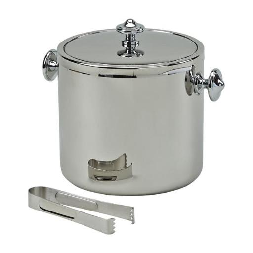 Creative Gifts International 020967 6.5 in. Stainless Steel Covered Ice Bucket with Tongs