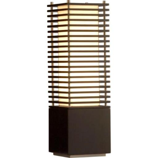 Nova 10704 Kimura- Accent Table Lamp- Dark Brown & Brushed Nickel With Tan Linen Shade