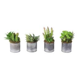 Vickerman F12204 4 Assorted Succulent Set Everyday Floral in Tin Vase