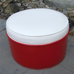 Drum Works Furniture 6009 SS 396 Ottoman, Red & White - 13.5 x 24 x 24 in.