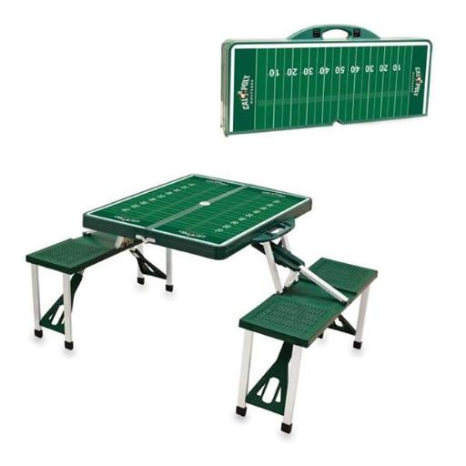 Picnic Time 811-00-121-905-0 Cal Poly Mustangs Digital Print Portable Folding Picnic Table with Four Seats, Green