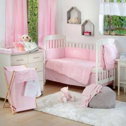 Pink Elephant Patchwork Crib Bedding Set (4PC Bedding Set + 1 set Curtain)