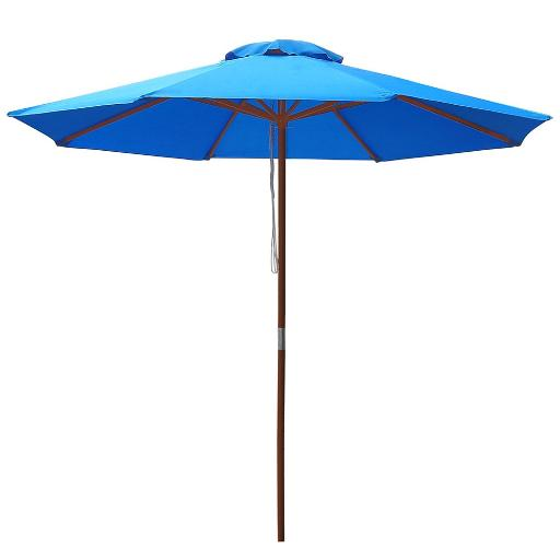 Yescom 9ft Wooden Outdoor Patio Blue Umbrella W/ Pulley Market Garden Yard Beach Deck Cafe Sunshade