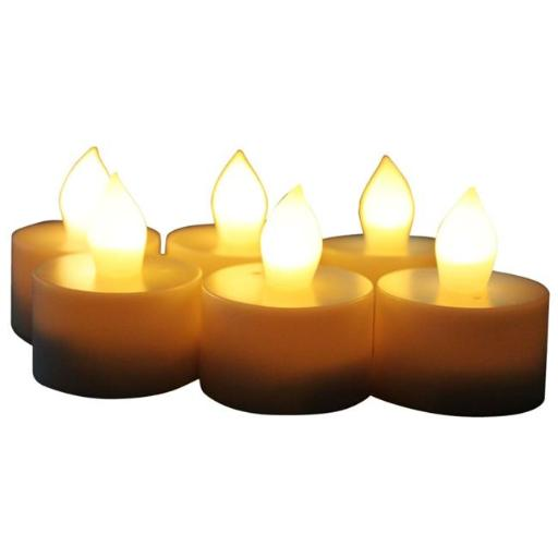 EcoGecko 87222-06 Indoor & Outdoor Flameless LED Tealight Candles with 4 or 8 hour timer - Set of 6