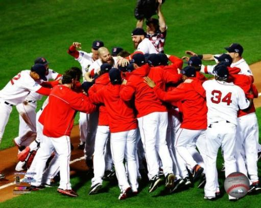 The Boston Red Sox Celebrate Winning Game 6 of the 2013 American League Championship Series Photo Print
