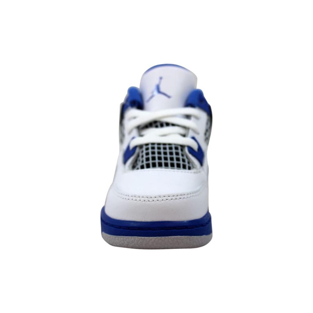 31f584555eb7c0 Nike Nike Air Jordan IV 4 Retro BT White Game Royal-Black Motorsport  308500-117 Toddler