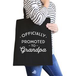 Officially Promoted To Grandpa Gift Canvas Bag For Pregnancy Reveal