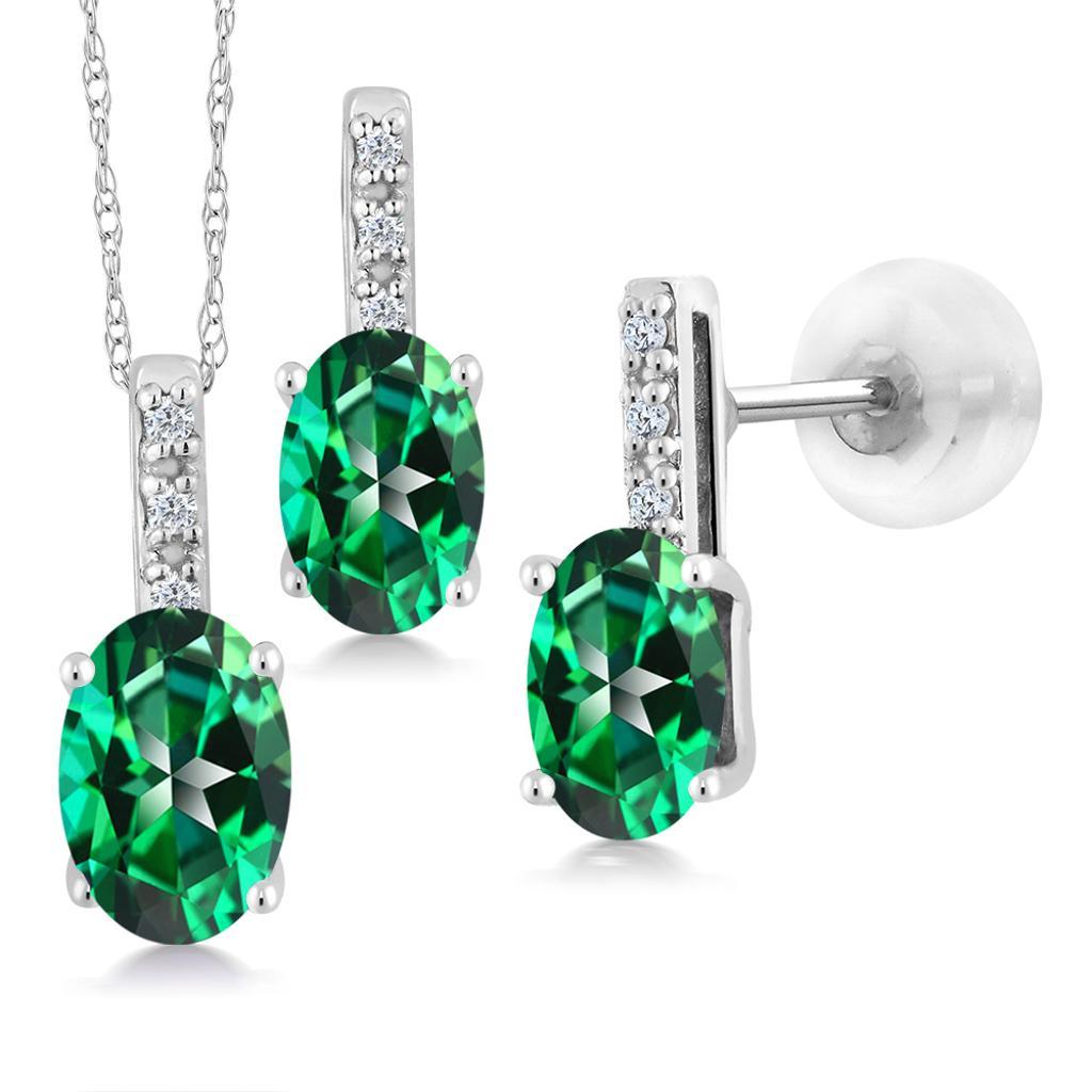 14K White Gold Diamond Pendant Earrings Set 7x5mm Set with Topaz from Swarovski