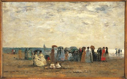 Bathers On The Beach At Trouville Poster Print RBMG44OU9D5FDWTW