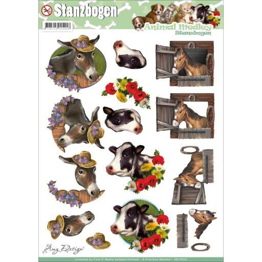 Find It Trading Amy Design Punchout Sheet Animal Medley Horse & Cow