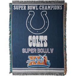 """Officially Licensed NFL Indianapolis Colts Commemorative Woven Tapestry Throw Blanket, 48"""" x 60"""""""