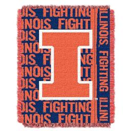 "The Northwest Company Officially Licensed NCAA Illinois Illini Double Play Jacquard Throw Blanket, 48"" x 60"", Multi Color"