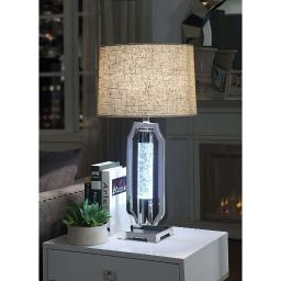 Contemporary Metal and Glass Table Lamp with Drum Shade, Silver and Brown