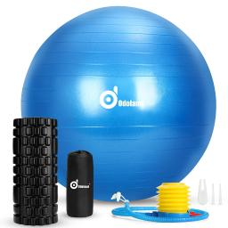 3-In-1 Exercise Ball Foam Roller Kit with Portable Bag, Anti Burst Yoga Ball for Fitness Muscle Therapy & Balance Exercise
