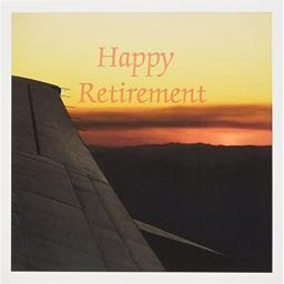 Print of Happy Retirement Sunset From Wing Of Plane - Greeting Cards, 6 x 6 inches, set of 12 (gc_221581_2)