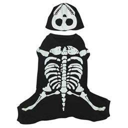 Casual Canine Cotton Glow Bones Dog Costume, Small, 12-Inch