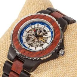 Men's Genuine Automatic Rose Ebony Wooden Watches No Batter