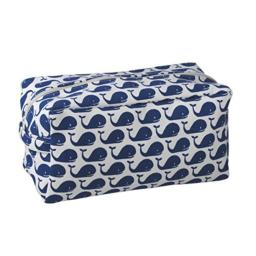 Whales Navy Blue White 12 x 5 Inch Cotton Patterned Cosmetic Carry All Bag with Handle