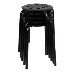 "Offex Plastic Nesting Stack Stools, 17.5""Height, Black - 5 Pack"