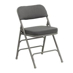 Offex Premium Curved Triple Braced & Double Hinged Gray Fabric Metal Folding Chair