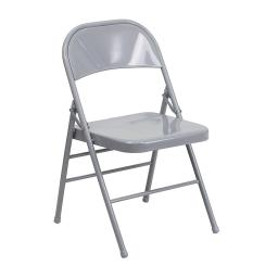 Offex Triple Braced & Double Hinged Gray Metal Folding Chair