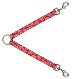 Buckle Down Dog Leash Splitter Paisley Red White 1 Foot Long 1 Inch Wide