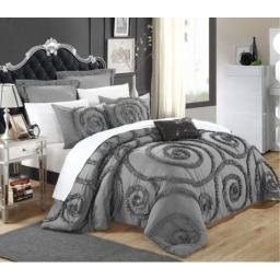 Chic Home Rosalia 7-Piece Ruffled Etched Embroidery Comforter Set; Bed in a Bag4 Shams and 2 Throw Pillows Included, Queen, Grey