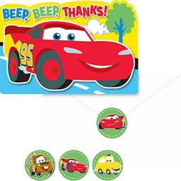 Cars 1st Birthday Thank You Notes (8-Pack)