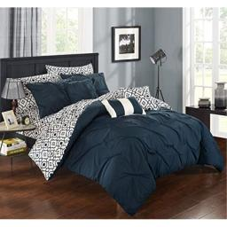 Chic Home Sabrina 10 Piece Reversible Comforter Bag Pinch Pleat Design Contemporary Geometric Pattern Print Bedding Set-Sheets Decorative Pillows Shams Included, Queen, Navy
