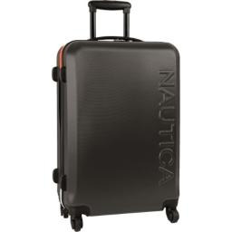 Nautica Hardside Carry On Luggage - 20 Inch Spinner Wheels Suitcase Lightweight Rolling Travel Bag for Under Seat, Grey/Orange