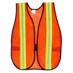 MCR Safety V201R Polyester Mesh General Purpose Safety Vest with 2-Inch Lime/Silver Reflective Stripe, Fluorescent Orange