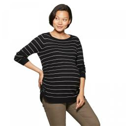 Isabel Maternity by Ingrid & Isabel Essential Side Shirred Pullover Sweater XX-Large Black / White Stripe