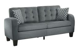 Contemporary Tufted Polyester Sofa With 2 Pillows, Sand Gray Finish