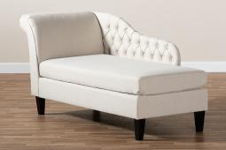 Baxton Studio Florent Modern and Contemporary Beige Fabric Upholstered Black Finished Chaise Lounge