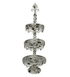 Rustic 3 Tier Iron Tray Rack with Spool Turned Design, Antique White