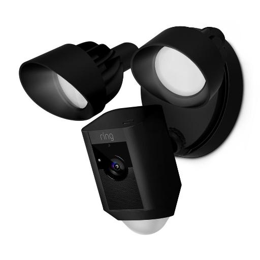 Ring Floodlight Security Camera with Motion Detection Sensor, Alarm Siren &  Night Vision - Black