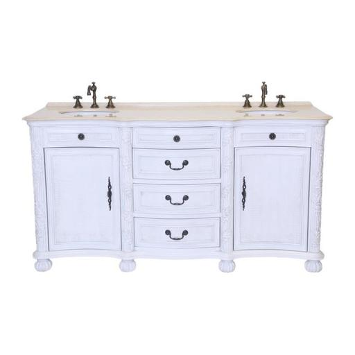 B & I Direct Imports B1747W 37 in. England Double Bathroom Vanity Set